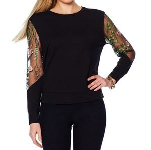 G by Giuliana Sweatshirt with Embroidered Sleeves